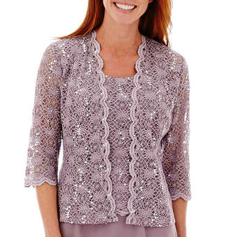 R & M Richards R&M Richards 3/4 Sleeve Lace Chiffon Jacket Dress