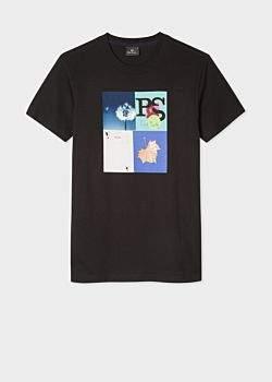 Paul Smith Men's Black 'Leaf Collage' Print T-Shirt