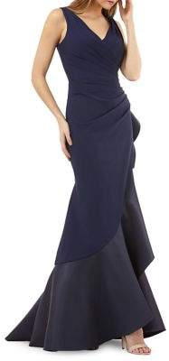 Carmen Marc Valvo Pleated Fit-and-Flare Evening Gown