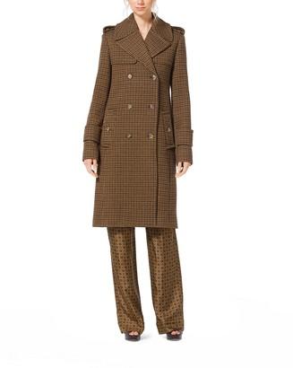 Michael Kors Guncheck Wool-Melton Officer's Coat