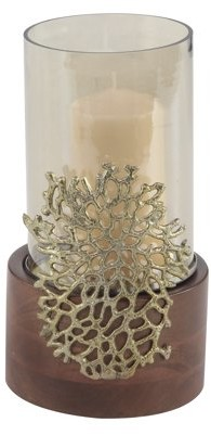 DecMode Decmode Coastal 12 X 6 Inch Wood, Glass And Metal Coral Candle Holder