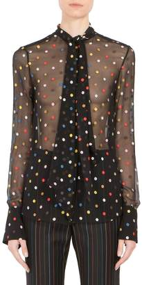 Givenchy Women's Multicolor Dot Fil Coupé Tie-Neck Blouse