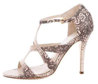 Michael Kors Embossed Leather Ankle Strap Sandals