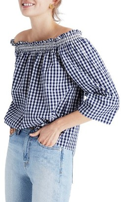 Women's Madewell Smocked Gingham Off The Shoulder Top $72 thestylecure.com