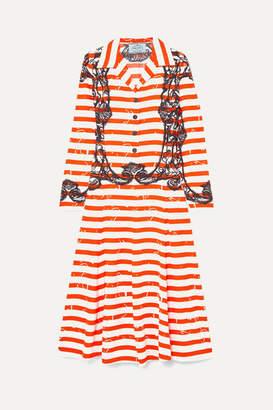 Prada Printed Crepe De Chine Midi Dress - Orange