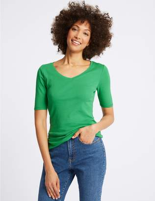 Marks and Spencer Pure Cotton V-Neck Half Sleeve T-Shirt