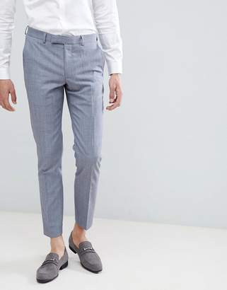 Moss Bros Skinny Suit Pants In Blue Wool Mix