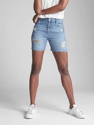 "Gap Wearlight 5"" Relaxed Denim Shorts with Destruction"