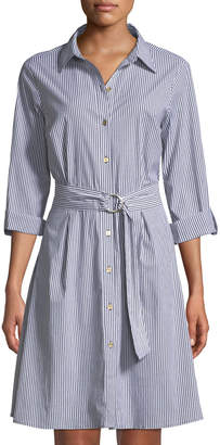 MICHAEL Michael Kors Roll-Sleeve Striped Shirt Dress