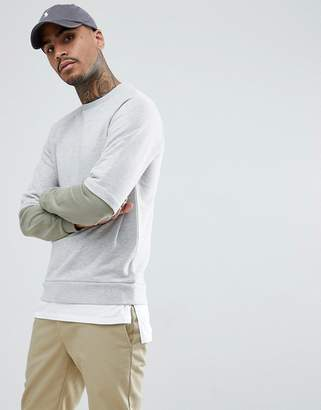 Asos DESIGN Sweatshirt With Stepped Hem Extender In Gray And Green