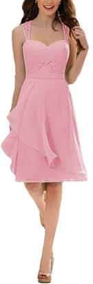 Firose Women's Short Knee Length Lace Chiffon Bridesmaid Dresses 2019 20W