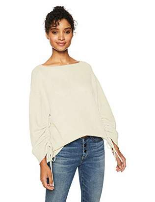 Cable Stitch Women's Ruched Sleeve Sweater