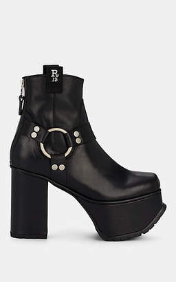 R 13 Women's Leather Platform Ankle Boots - Black