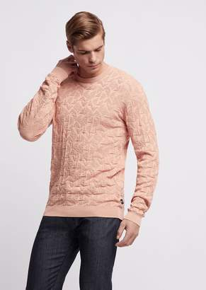 Emporio Armani Pure Cotton Sweater With Jacquard Monogram
