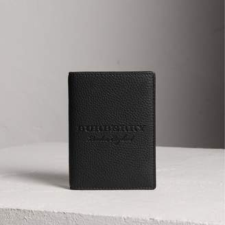 Burberry Embossed Leather Passport Holder, Black