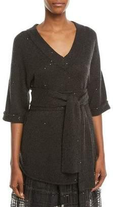Brunello Cucinelli V-Neck 3/4-Sleeve Sequin Cashmere-Silk Sweater w/ Wrap Belt