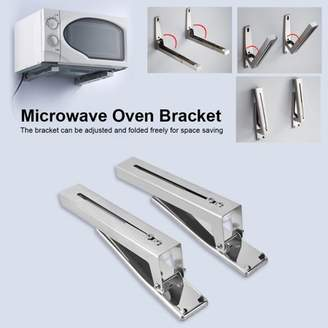 EECOO 2Pcs Foldable Stretch Shelf Rack Microwave Oven Bracket Kitchen Stainless Steel Sturdy Foldable Stretch Wall Mount Oven Stand Bracket Rack Shelf