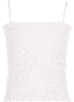 River Island Girls white shirred cami top