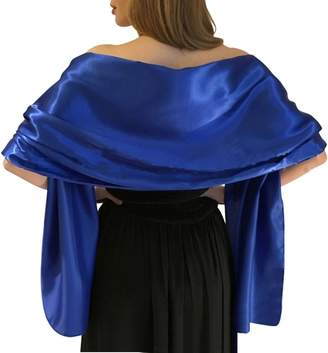 "Dasior Women's Elegant Solid Satin Shawl Wrap for Wedding Evening Party 94.5""27.5"""
