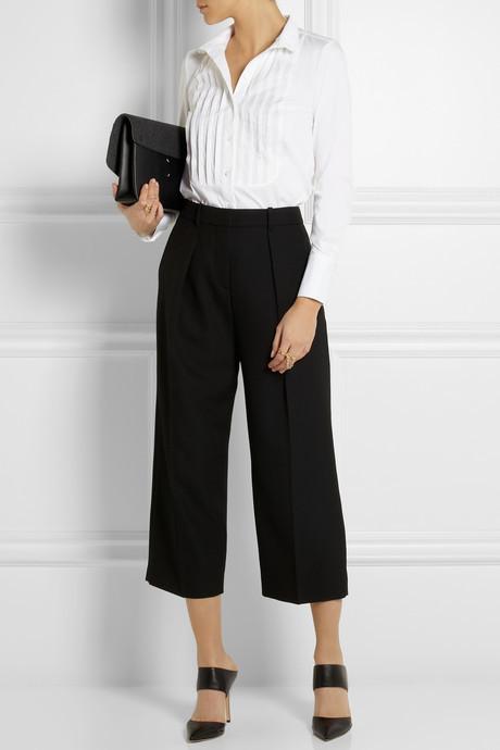 Karl Lagerfeld Emma pleated stretch cotton-blend shirt