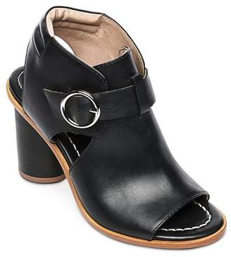 Bernardo Hazel Peep-Toe Leather Booties