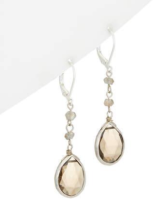 Rachel Reinhardt Silver Labradorite & Smoky Quartz Earrings