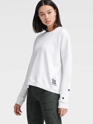 DKNY Crew Neck Pullover With Snap Panel