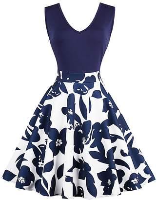 CZ Women Round Neck Sleeveless Floral Print A-Line Swing Dress