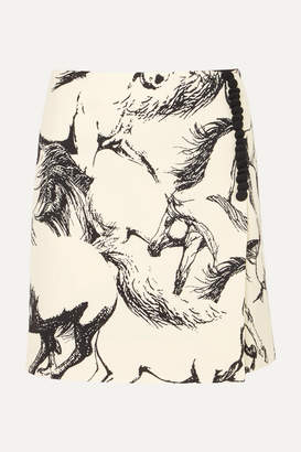 ADAM by Adam Lippes Printed Wool Mini Skirt - Ivory