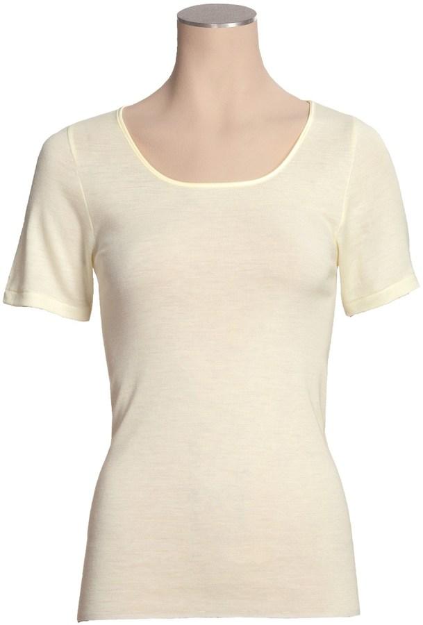 Calida Wool-Silk Undershirt - 1x1 Rib Knit, Short Sleeve (For Women)
