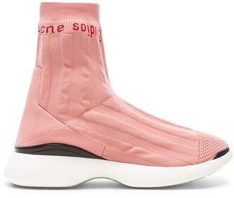 Acne Studios Batilda Sock Sneakers in Pink & White | FWRD