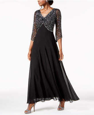 J Kara Embellished 3/4-Sleeve Gown