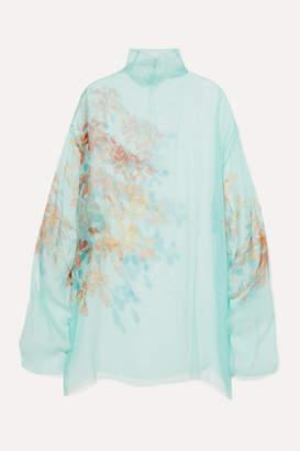 Dries Van Noten Darci Oversized Floral-print Silk-tulle Tunic - Light blue