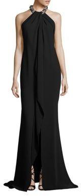Carmen Marc Valvo Embellished Halter Gown $1,075 thestylecure.com