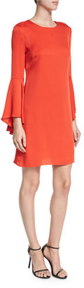 Milly Bell-Sleeve Stretch-Silk Crepe Dress, Flame $425 thestylecure.com