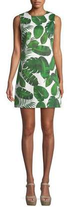 Alice + Olivia Coley Sleeveless Palm-Leaf Print A-Line Dress