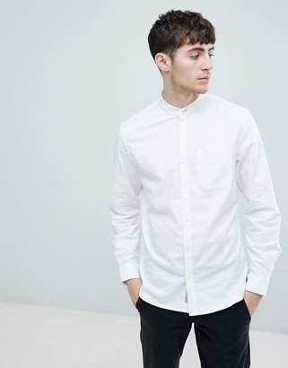 Original Penguin grandad collar oxford shirt slim fit tonal logo in white