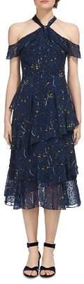 Whistles Wheatsheaf Print Cold-Shoulder Dress