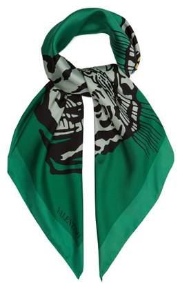 Valentino Tiger Print Silk Scarf - Womens - Green