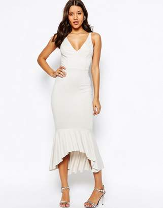 Asos Soft Peplum High Apex Midi Dress