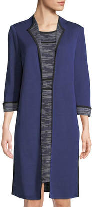 Misook Plus Size 3/4-Sleeve Long Jacket