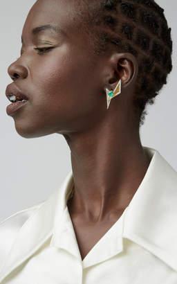 Kavant & Sharart 18K Gold Emerald And Diamond Earrings