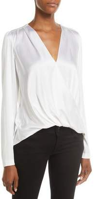 A.L.C. Harmon Draped Long-Sleeve Silk Top