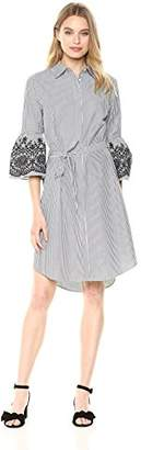 Calvin Klein Women's Bell Sleeved Shirt Dress with Embroidery White/Black