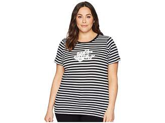 Lauren Ralph Lauren Plus Size Logo Striped Jersey T-Shirt Women's T Shirt