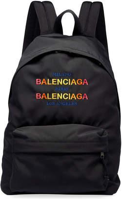 Balenciaga Men's Double-Logo Tri-City Backpack