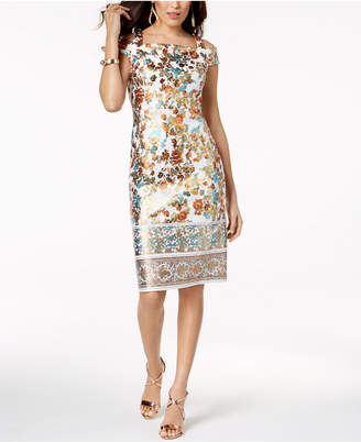 Thalia Sodi Metallic-Print Sheath Dress, Created for Macy's