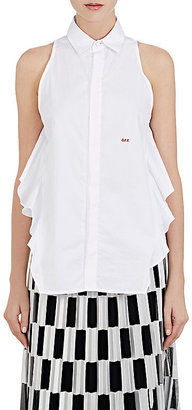Off-White c/o Virgil Abloh Women's Cotton Poplin Open-Back Shirt $480 thestylecure.com