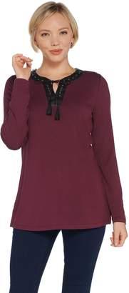 Belle By Kim Gravel Belle by Kim Gravel Faux Leather Lace Up Top w/ Tassel Trim
