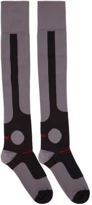 Miu Miu Purple and Black Over-the-Knee Logo Socks